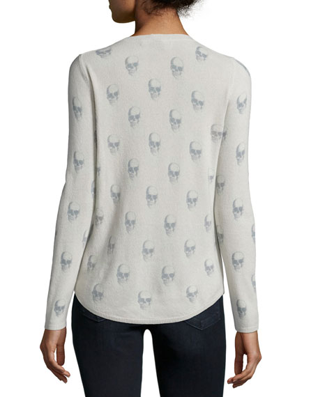 V-Neck Skull Cashmere Top