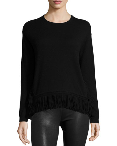 Long-Sleeve Fringe-Hem Top