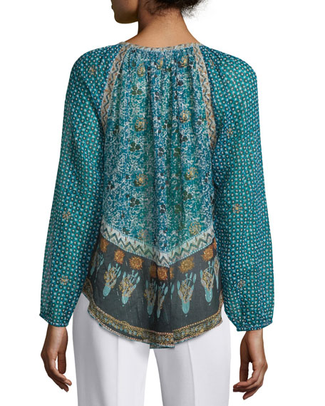 Keaton Long-Sleeve Mixed-Print Top, Blue