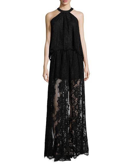 Lucrenzia High-Waist Lace Maxi Skirt, Black