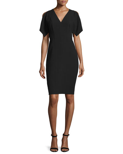 Lourdes Short-Sleeve Sheath Dress, Black