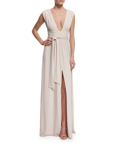 Sleeveless Plunging V-Neck Gown, Oyster