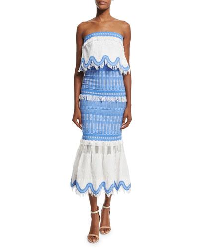 Strapless Mixed-Media Midi Dress, Blue/White