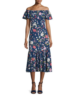 Cap-Sleeve Floral Silk Midi Dress, Blackberry