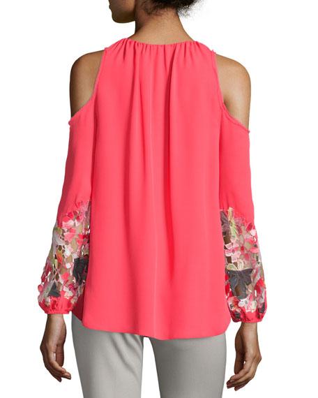 9e8e3fd57af6c6 Elie Tahari Cathy Cold-Shoulder Embroidered Blouse