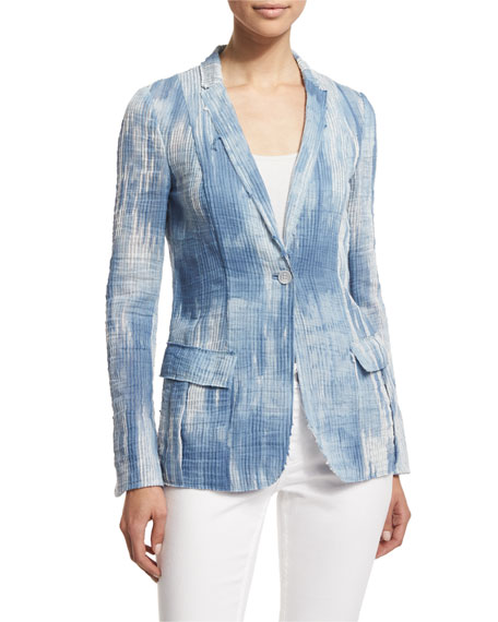Elie Tahari Tova One-Button Jacket, Light Denim/Multi
