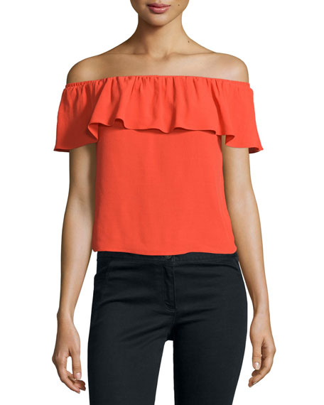 Coast Ruffled Off-the-Shoulder Top, Red