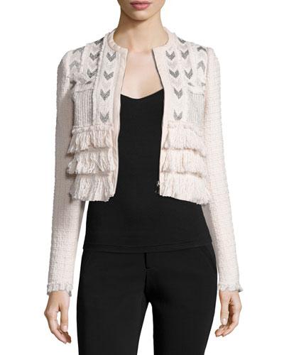 Cropped Tweed Jacket w/ Embroidery, Movida