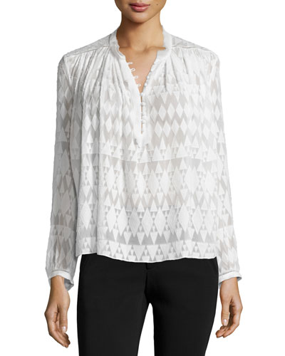 Long-Sleeve Fil Coupe Silk-Blend Top, Snow