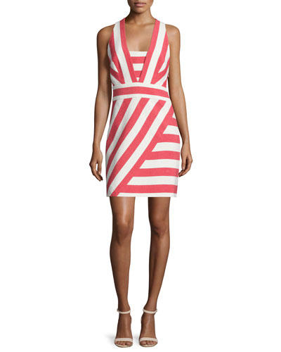 Graphic-Striped Crisscross-Back Dress, Red