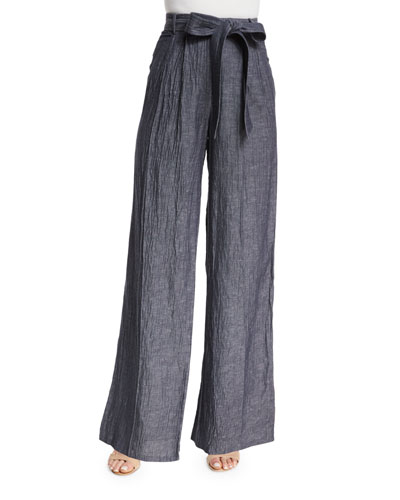 Denim Linen-Blend Trapunto Tie-Waist Trousers