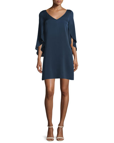 Butterfly-Sleeve V-Neck Shift Dress, Navy