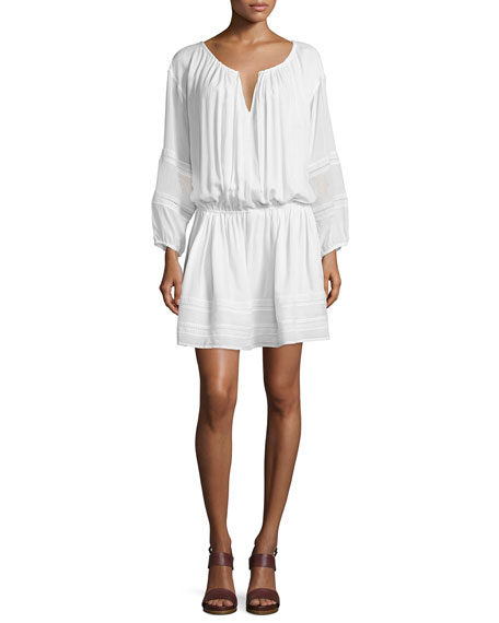 Image 1 of 1: Lace-Inset Popover Dress, Off White