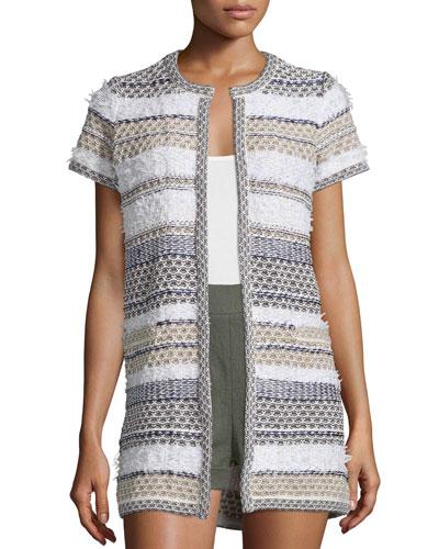 Arryn Short-Sleeve Multipattern Sweater, Midnight/Multicolor