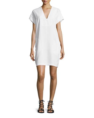 V-Neck Short-Sleeve Popover Shift Dress