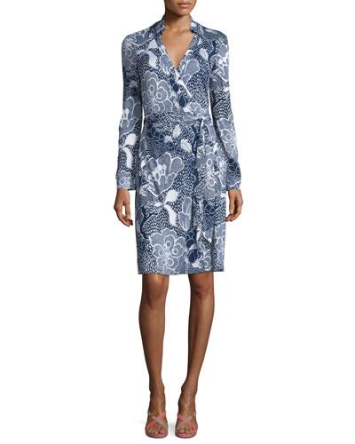 New Jeannie Two Flower Power Wrap Dress, Midnight