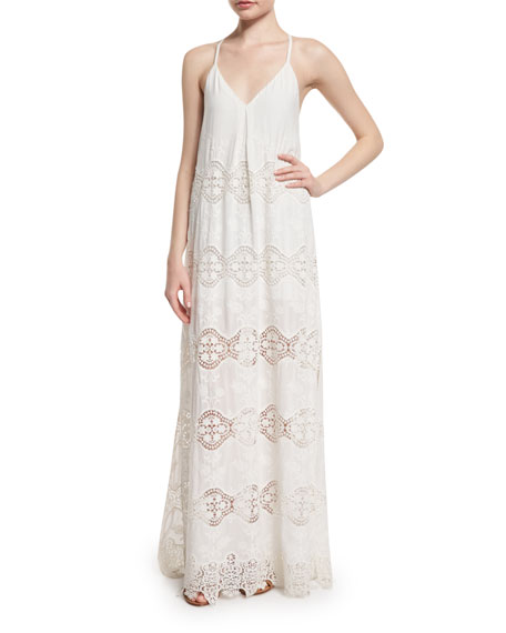 Alice Olivia Raine Lace Trim Maxi Dress White