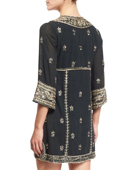 Ray Embroidered Mini Dress, Black