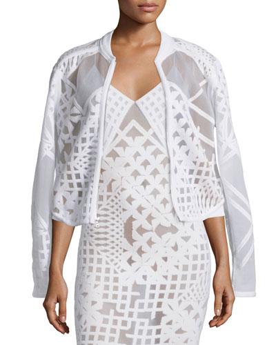 Geometric Zip-Front Burnout Jacket, White