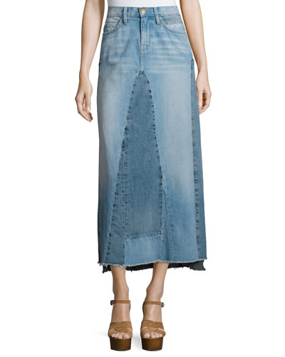 The Reconstructed Long Denim Skirt, Recon W/Overlock