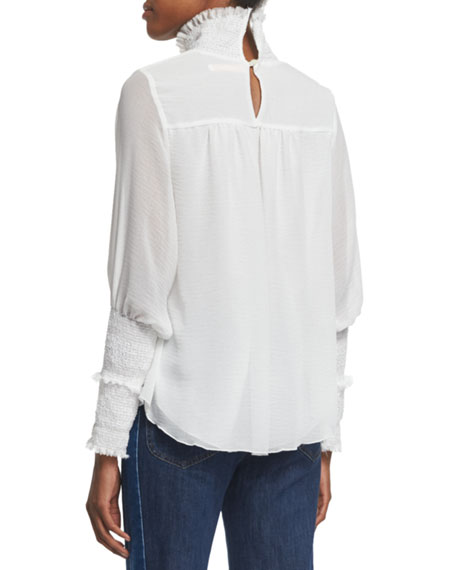 Embroidered Ruffle-Trim Top, Off White