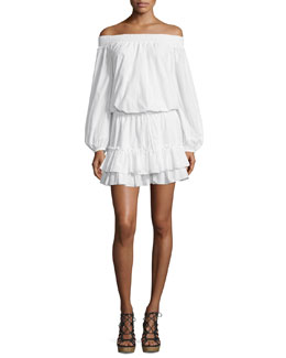 Kenji Off-The-Shoulder Blouson Dress, White