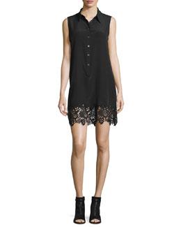 Lucida Sleeveless Lace-Hem Shirtdress, Black