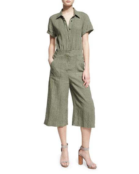 Short-Sleeve Button-Front Culotte Jumpsuit, Green