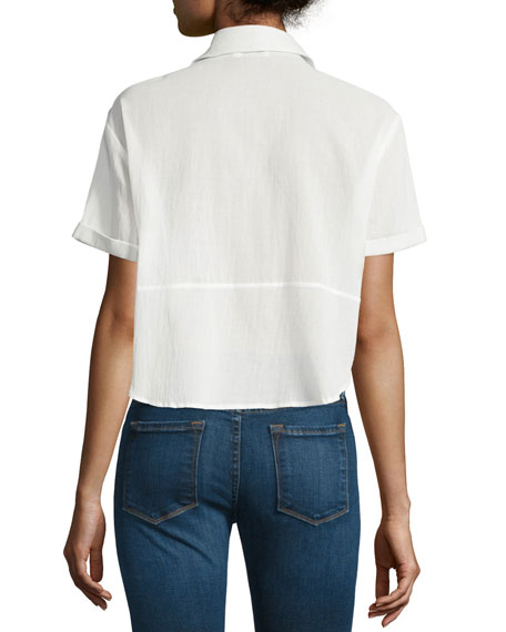 Cropped Button-Front Boxy Top, Blanc