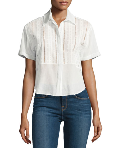 FRAME Cropped Button-Front Boxy Top, Blanc