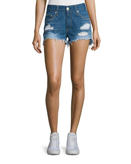 Distressed Cut-Off Denim Shorts, Freeport