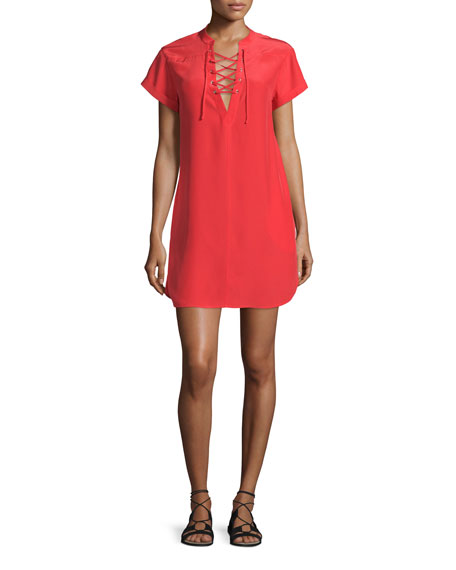 FRAME Le Lace-Up Silk Shift Dress, Blood Orange