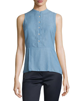 Sleeveless Chambray Button-Front Top, Blue