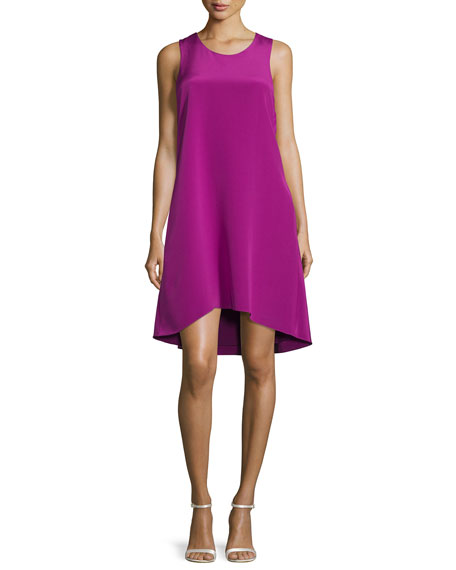 Sleeveless Ruffle-Trim Silk Shift Dress, Magenta