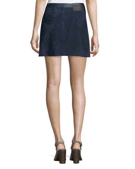 Siggy Snap-Front Suede Skirt, Navy