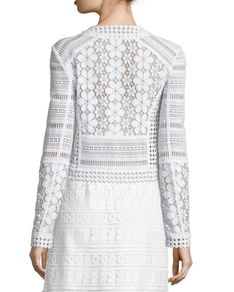 Arlette Cropped Lace Zip-Front Jacket, White