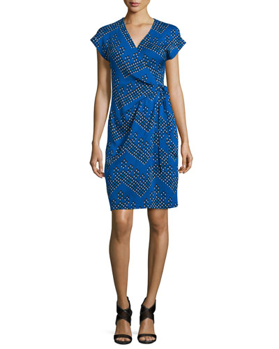 Sascha Dot-Print Wrap Dress, Chevron Dots Blue