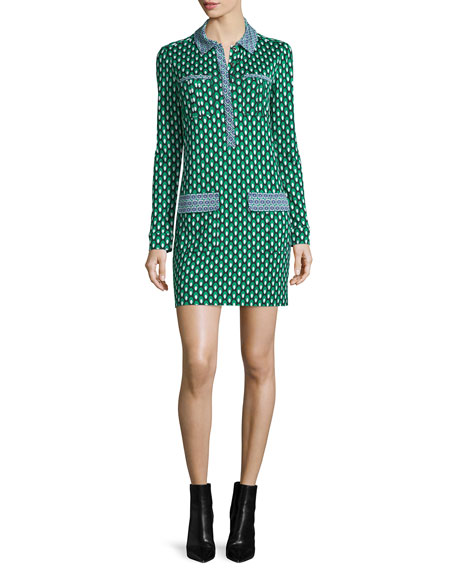 Diane von Furstenberg Denny Long-Sleeve Square Stamps Silk