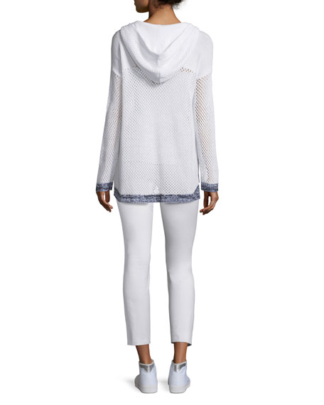 Thea Mesh Hooded Sweatshirt, White