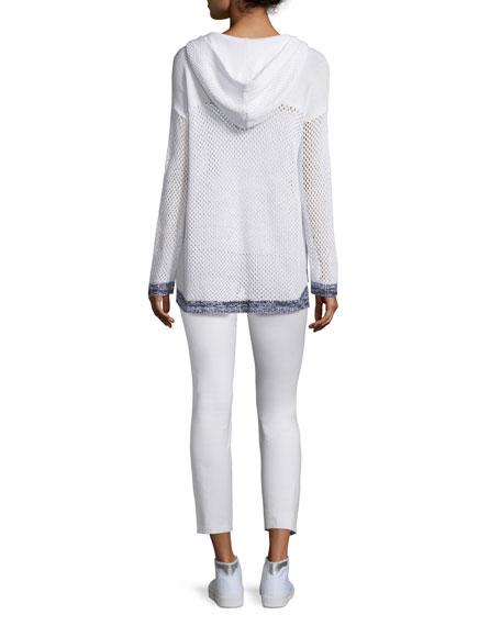 Thea Mesh Hooded Sweatshirt, White