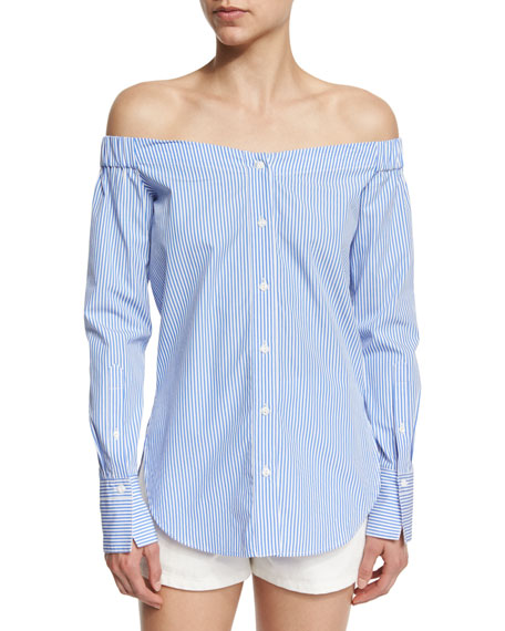Kacy Reversible Poplin Off-the-Shoulder Striped Tunic, White