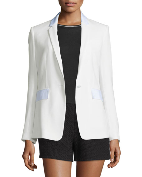 Windsor Crepe Contrast-Trim Blazer, White