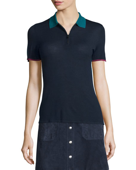 Alice Colorblock Half-Zip Polo Shirt, Navy