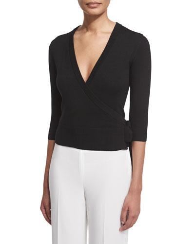 Mellia Refine Surplice Wool Sweater