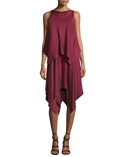 Greer Sleeveless Satin Handkerchief Dress, Raspberry