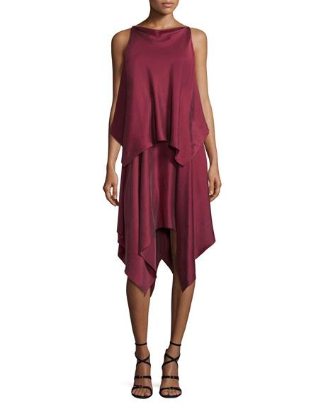 Greer Sleeveless Satin Handkerchief Dress, Raspberry
