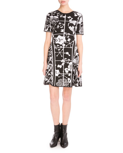Tanami Flower Jacquard Mini Dress, Black