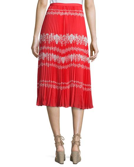 Pleated Flower Spell Midi Skirt, Red/Cream