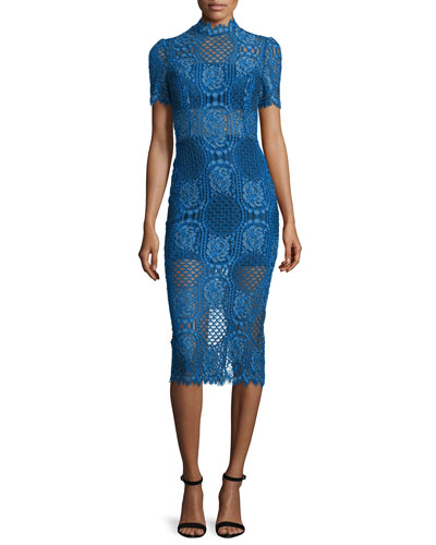 Delila 3/4-Sleeve Lace Midi Dress, Passionate Blue