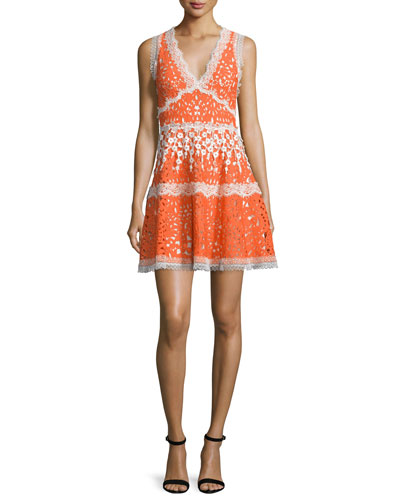 Bridget Paneled Lace A-Line Dress, Tangerine